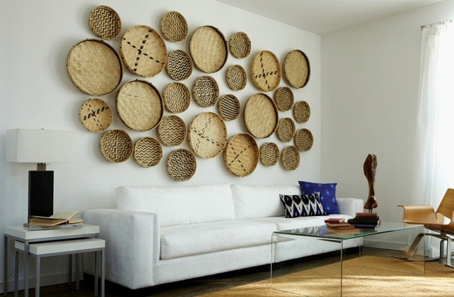 The walls are less boring with unique bamboo or rattan decorations